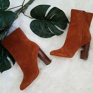 New Sole Society Veronika Suede Booties Chestnut7